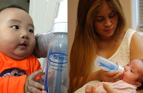 Mother Feeds Child with Dr. Browns Bottle