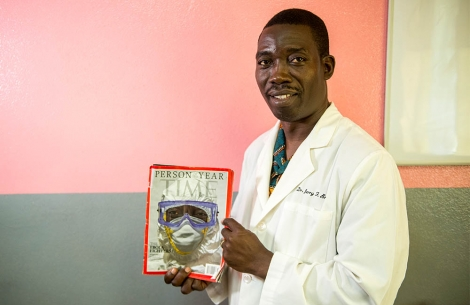 Dr Brown holds the Time magazine that he is on the cover of