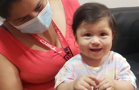Smile Train patient Gianna after cleft lip and palate surgery