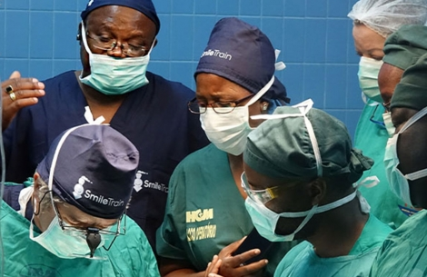 Smile Train partner surgeons observe a cleft surgery.