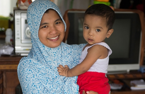 Zawata with mother after free Smile Train cleft lip palate surgery.